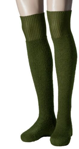 Thermo-Überkniestrümpfe Vollplüsch Wolle NORDPOL IMMERWARM oliv