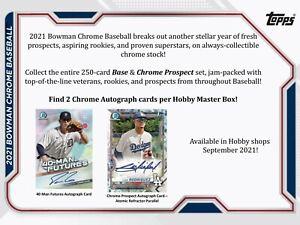 2021 Bowman Chrome Baseball Hobby Box (Presell)
