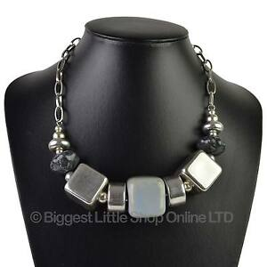 bc2a6bde08452 Details about NEW Ladies Chunky Square NECKLACE Evening Silver Blue Purple  Fashion Statement