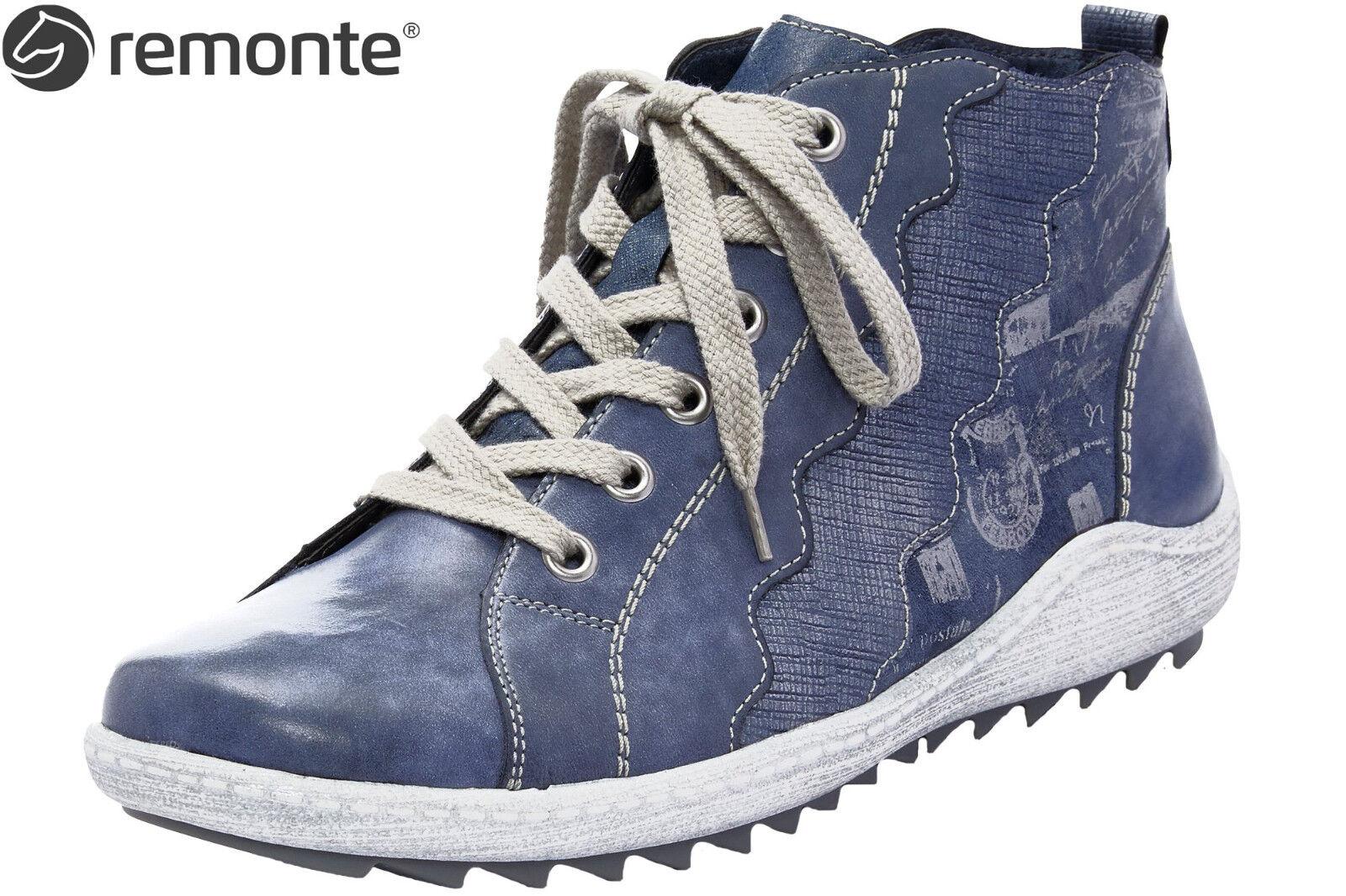 Leder Blau R1474 15 Schuhe Damen Remonte High Turnschuhe NEU