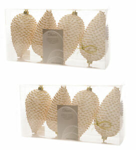8 x Ivory & Gold Pinecone Baubles Hanging Decorations Christmas tree Baubles 8718533506563