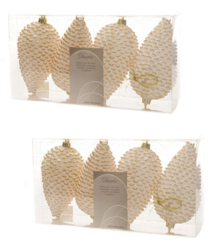 8 x ivoire /& or Pinecone Baubles Suspendu Décorations Arbre de Noël Baubles
