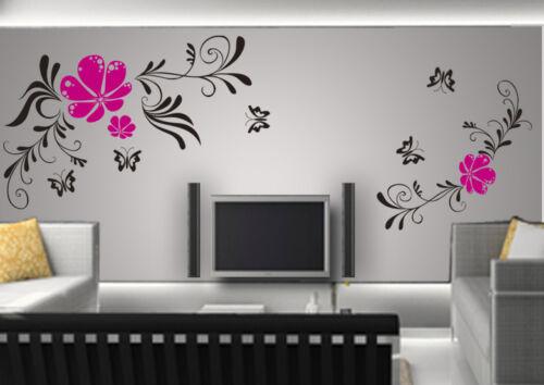 Wandtattoo wandfolie Blumenranke Schmetterlinge  Wallsticke Ranke Blumen wpf04