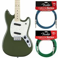Fender Mustang Offset Series Olive Electric Guitar, Includes 2 California Cables