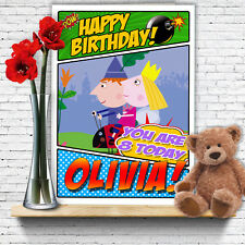 Large Personalised 4th Birthday Card BEN /& HOLLIES LITTLE KINGDOM Granddaughter