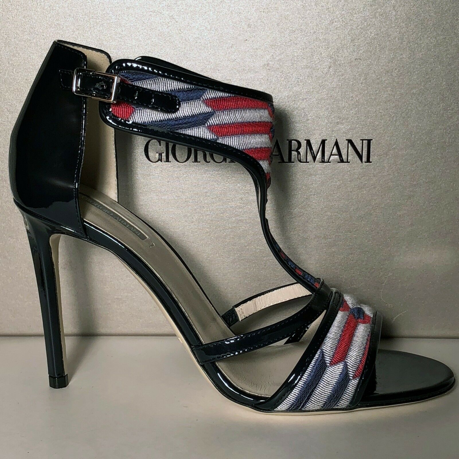 925 Giorgio Armani Women's Black Red Leather Fashion Ankle T-Strap Heels Pumps
