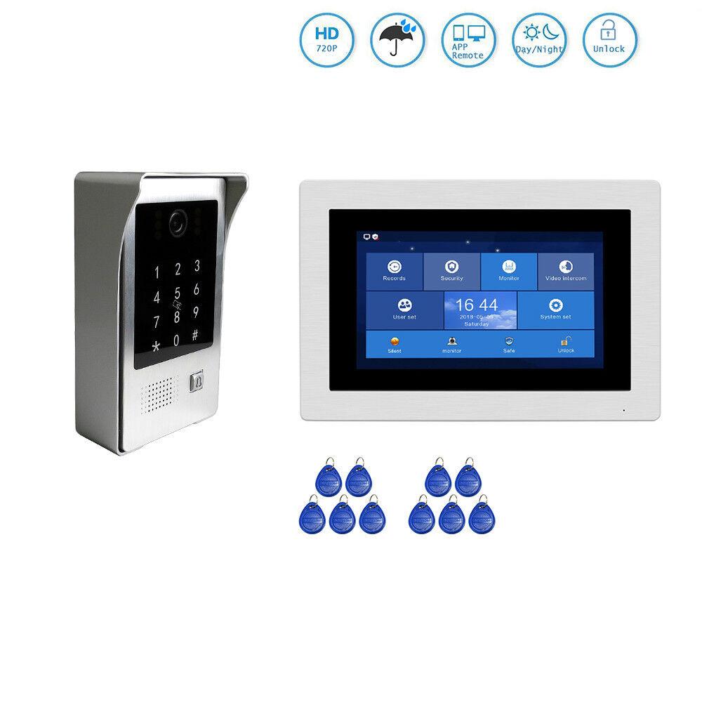 720P Wifi IP 7  puerta de intercomunicación de vídeo de grabación Teléfono Teléfono Cámara De Visión teclado rfid