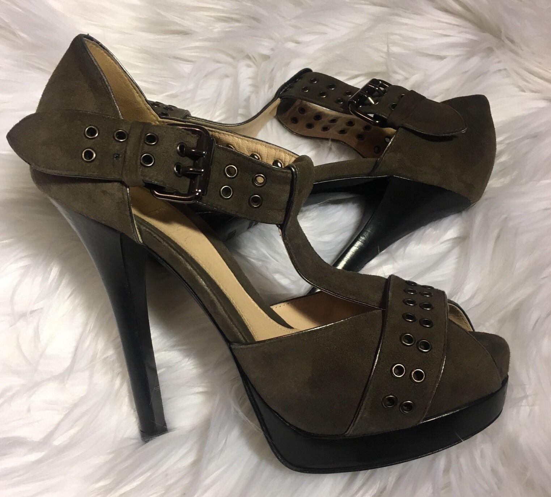 Fendi Heels Gold Suede platform schuhe with Gold Heels eyelets Olive Green Sz 7 133b53