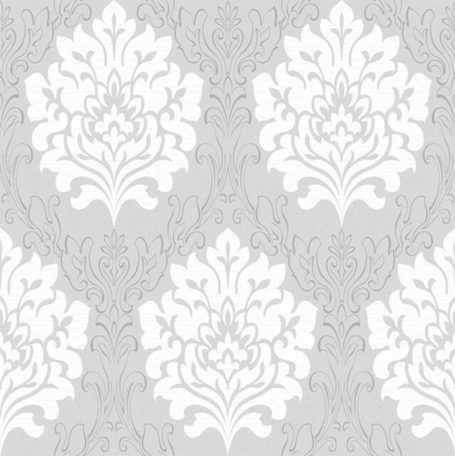 Grey White Damask Wallpaper Marrakesh Textured Metallic Embossed Traditional