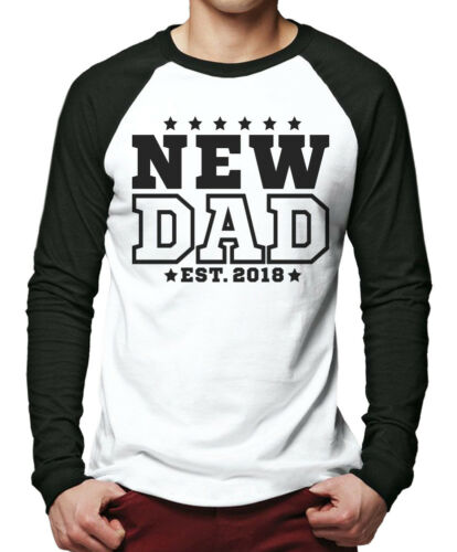 New Dad 2018 Men Baseball Top daddy new baby born 2018