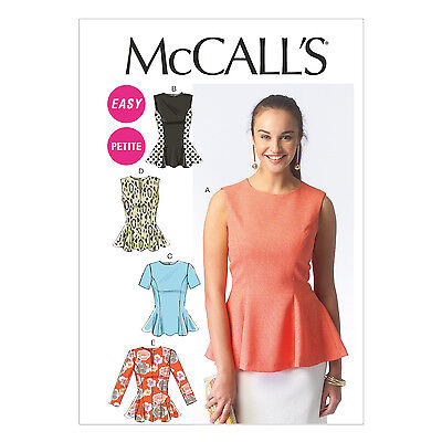 McCall's 6896 Sewing Pattern to MAKE Misses' & Petite Tops w/Peplum Variations