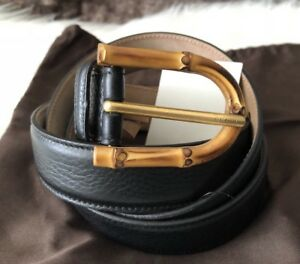 db84f22a Details about NWT Authentic Gucci Ladies Black Leather Belt With Iconic  Bamboo Buckle 100 30mm