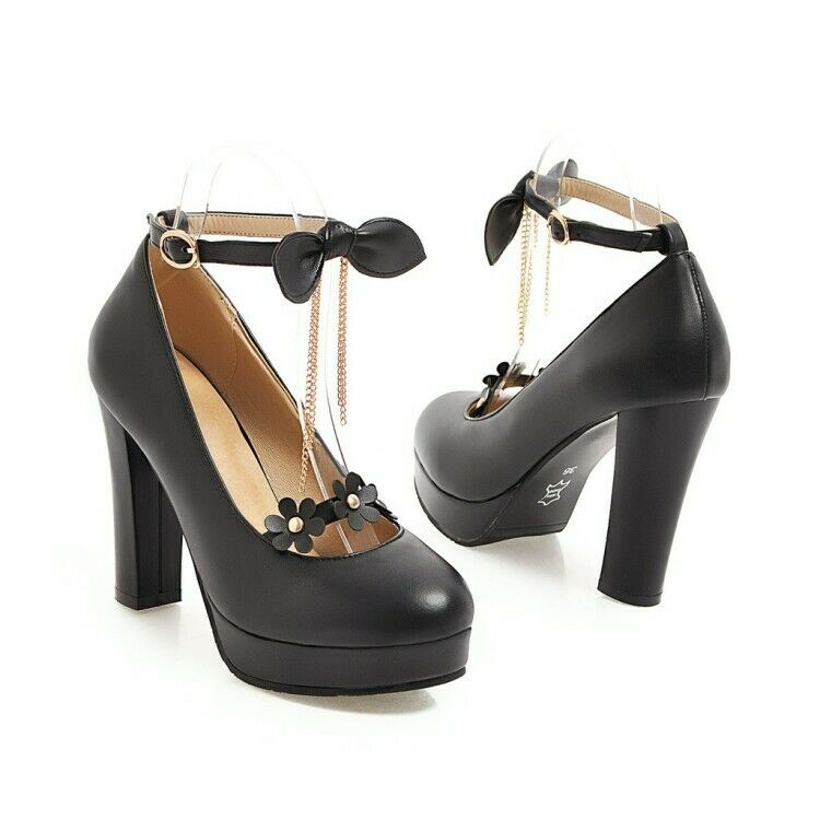 Fashiont Round Toe Trendy Buckle Strap Blocjk Heel PU Leather shoes T-strap Pump