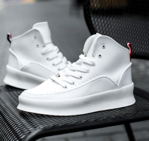 Mens Sneakers Athletic Flat Heels Casual High Top Sports Running Lace Up shoes