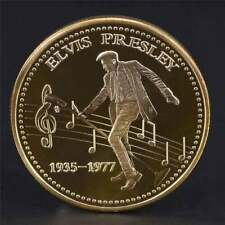 Elvis Presley 1935-1977 The King of N Rock Roll Gold Art Commemorative Coin  od