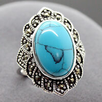 New Fashion Natural Tibetan Turquoise 925 Sterling Silver Ring Jewelry Size7-11