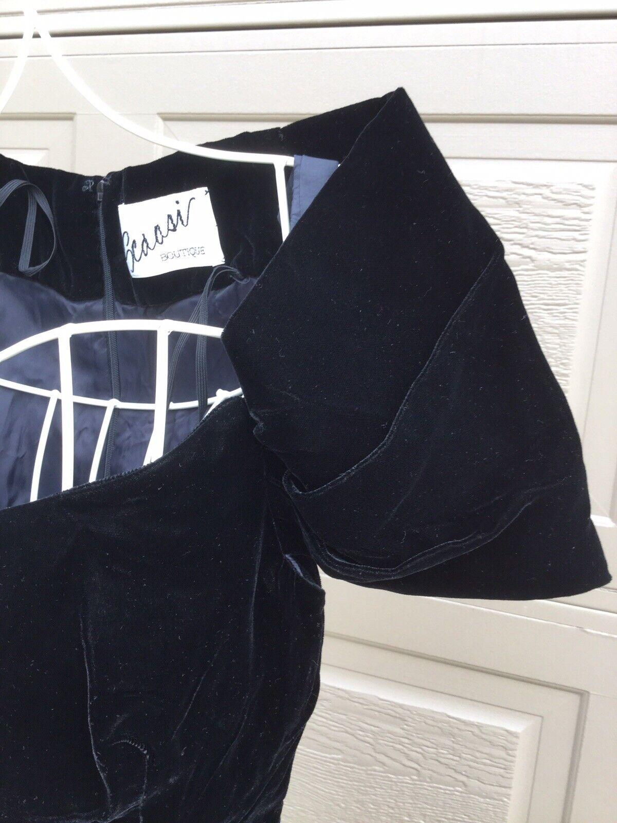 Scaasi Boutique Couture Black Velvet Satin Dress,… - image 4