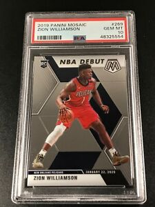 ZION WILLIAMSON 2019 PANINI MOSAIC #269 ROOKIE RC PSA 10 PELICANS NBA (B)