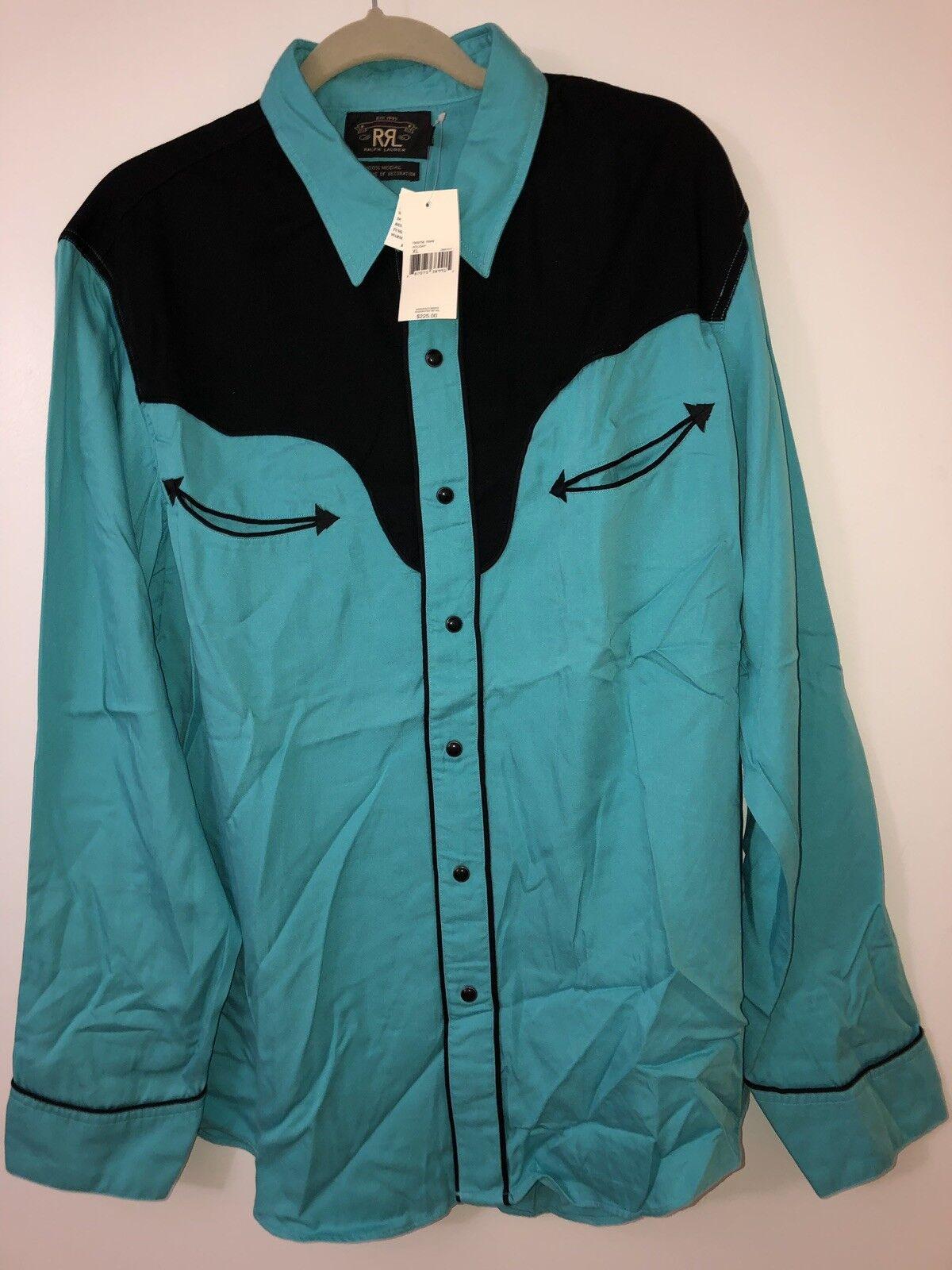 509b2aad RRL Ralph Lauren Double RL Vintage Western Cowboy Snap Button Down Shirt S