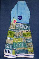 Handmade Inspirational Sayings Blue Hanging Kitchen Hand Towel 1369