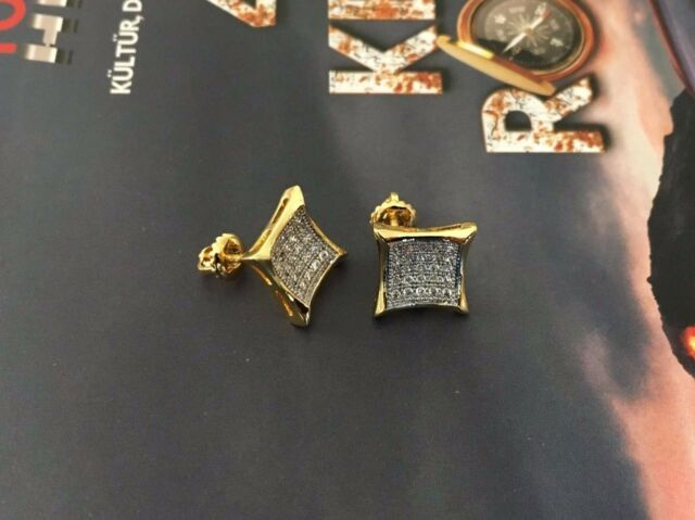Mens Las 10k Yellow Gold Designer Square Micro Pave Diamond Earrings Studs