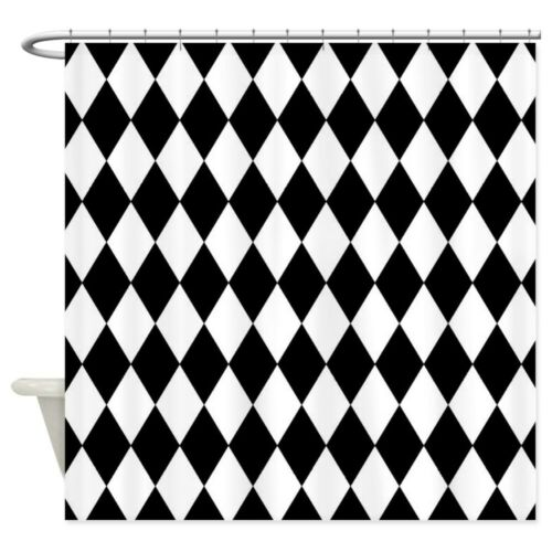 2021642766 CafePress Black And White Harlequin Pattern Shower Curtain
