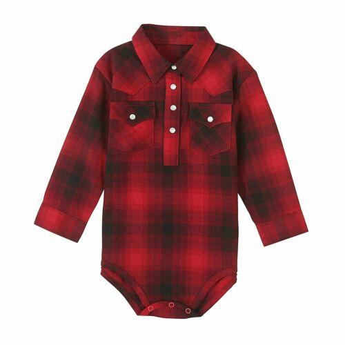 Wrangler Baby Boy Long Sleeve Plaid Bodysuit