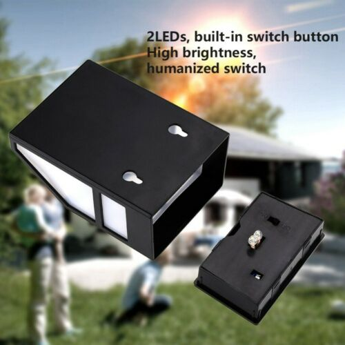 Solar Powered Wall Mount 2 LED Light Lamp Outdoor Garden Path Landscape Fence