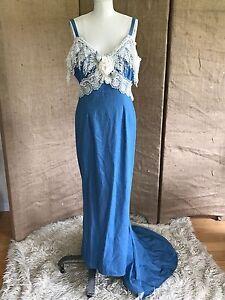 denim lace country column wedding dress w train medium off