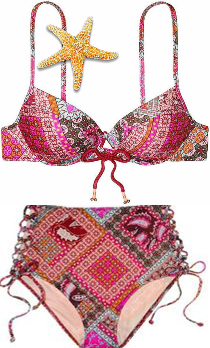 Victoria Secret Fabulous Warm Red Patchwork 34DD 36DD Medium High Waist Bikini