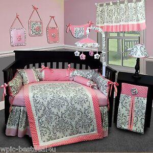 Image Is Loading Baby Boutique Grey Damask 15 Pcs Nursery Crib