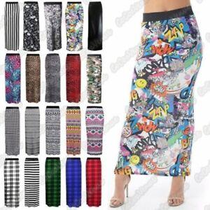 Neuf Pour Femmes Imprime Jersey Moulant Taille Elastique Gitan Jupe Longue Robe Ebay