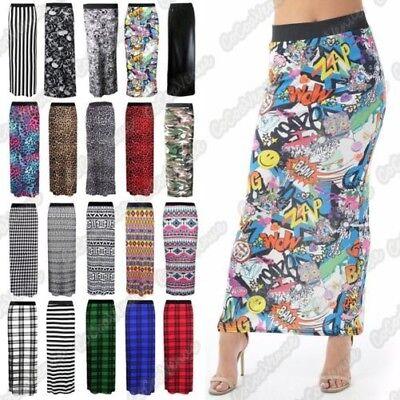 Nouveau Haut Femmes Imprimé Jersey Jupe longue gitane Extensible Jupe Taille 8-26