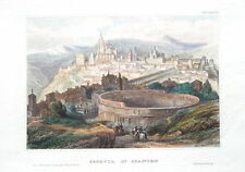 SPAIN ,CASTILE & LEON,  SERGOVIA, CATHEDRAL & AQUADUCT  Antique Print c1850