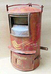 Vintage Red Color Metal Letter Box India Post Postal History Memorabilia Marked