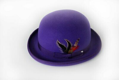 Quality PURPLE 100/% Wool Bowler Hat with Removable Feather Satin Lined in 4sizes