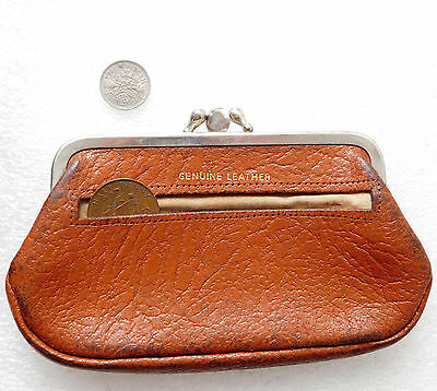 Real leather purse made in England vintage 1950s 1960s no zip tatty