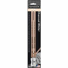 GENERALS White CHARCOAL Drawing PENCILS Pack of 2 with Sharpener
