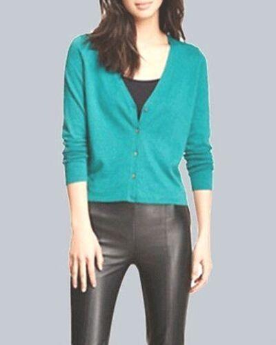 BNWT $158.00 EILEEN FISHER Organic Cotton Cashmere ABSINTHE Crop Cardigan XS M L