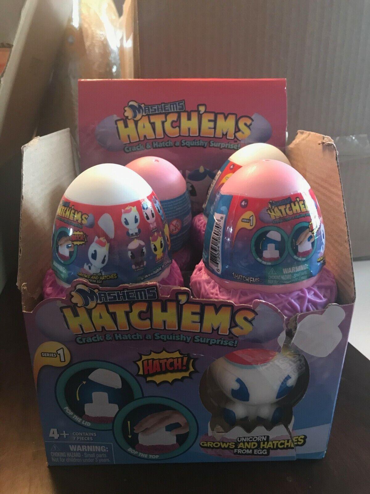 Mashems Hatchems Box of 7 Eggs + Display Unicorn NIB
