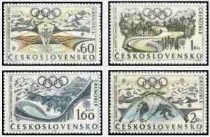Timbres-Sports-d-039-hiver-JO-Tchecoslovaquie-1615-8-lot-24000