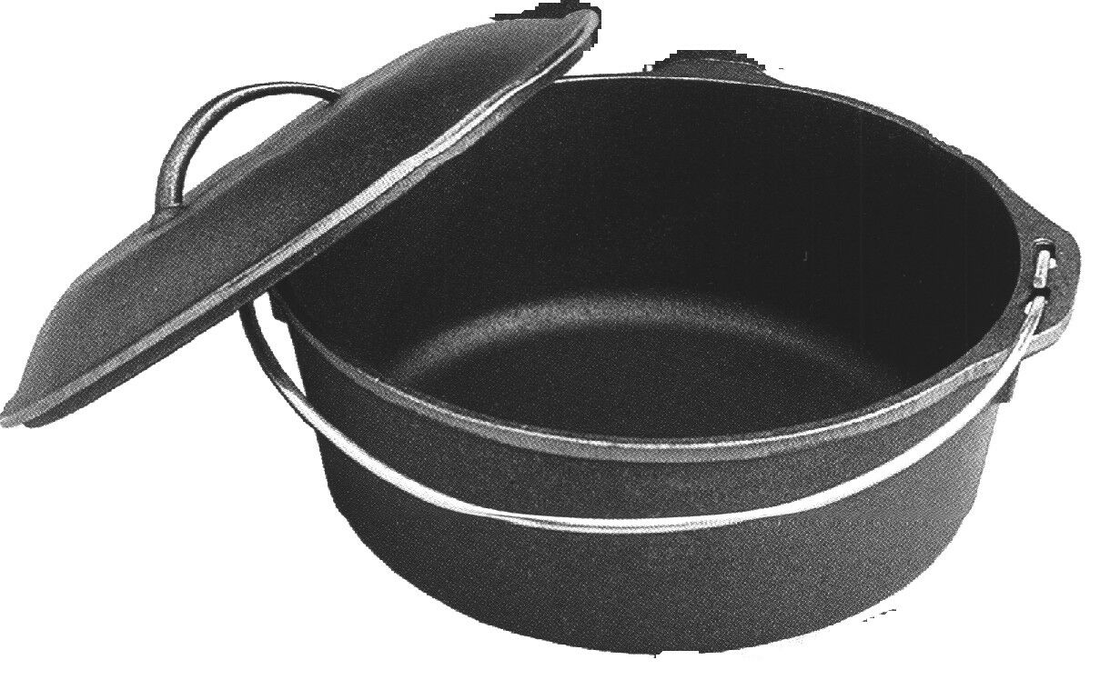 Cast Iron Dutch Oven w Lid - 4 qt for camping or home cooking sold as pair