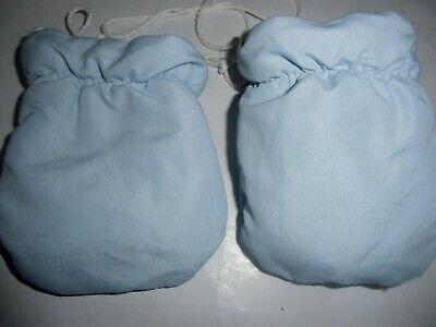 Baby Handschuhe,fäustlinge , Blau-natur-weiß Gefüttert, Auch 2 Seitig Tragbar . Schnelle WäRmeableitung