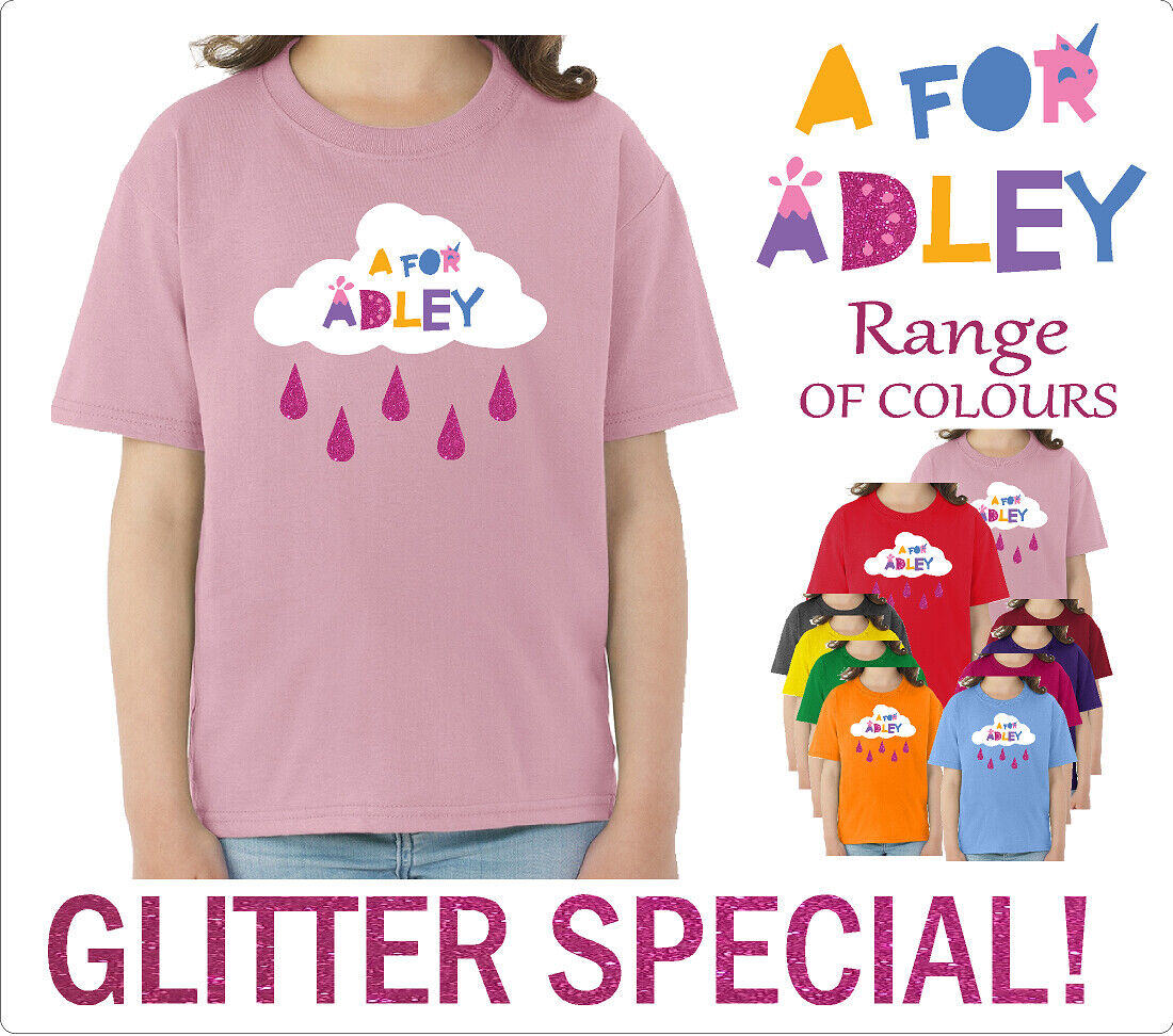 A for Adley 2 Kids Classic GLITTER T-Shirt from 2years to 13years 3YRS -13YRS
