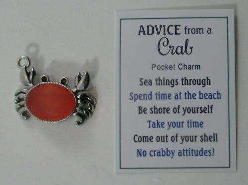 zzs ADVICE FROM CRAB Pocket Charm figurine no crabby attitude come out of shell