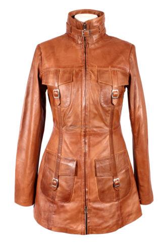 Ladies Venice Tan Waxed Knee Length Lambskin Leather Long Jacket  Coat