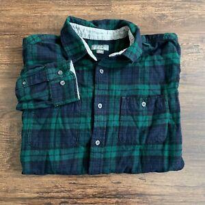 Eddie Bauer Long Sleeve Flannel Button Up Shirt Men's XL Dark Blue Green Plaid