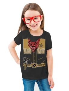 Cowboy-Halloween-Easy-Costume-Outfit-Toddler-Kids-Girls-039-Fitted-T-Shirt-Gift