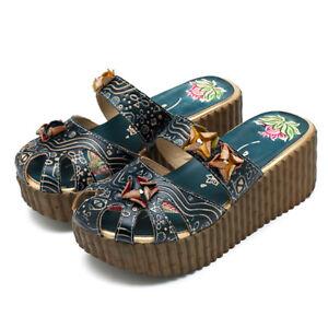 85d16b8ae SOCOFY Women Handmade Backless Slippers High Wedge Platform Sandal ...