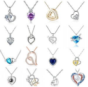 Women silver gold rose plated heart love charm bling crystal pendant Necklace